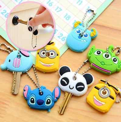 Cute Korea Cute Soft Key Top Head Cover Chain Cap Keyring Phone Strap Minion