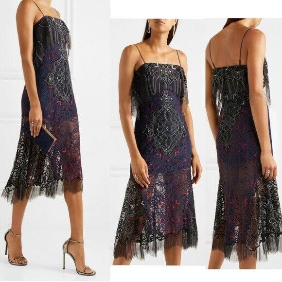 ,065 NWT Jonathan Simkhai Luxury Two Tone Lace Bandeau Cocktail Dress 4 Small