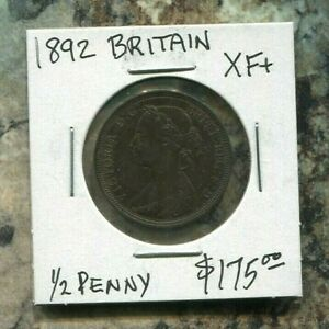 GREAT-BRITAIN-FANTASTIC-HISTORICAL-QV-BRONZE-HALF-PENNY-1892-KM-754