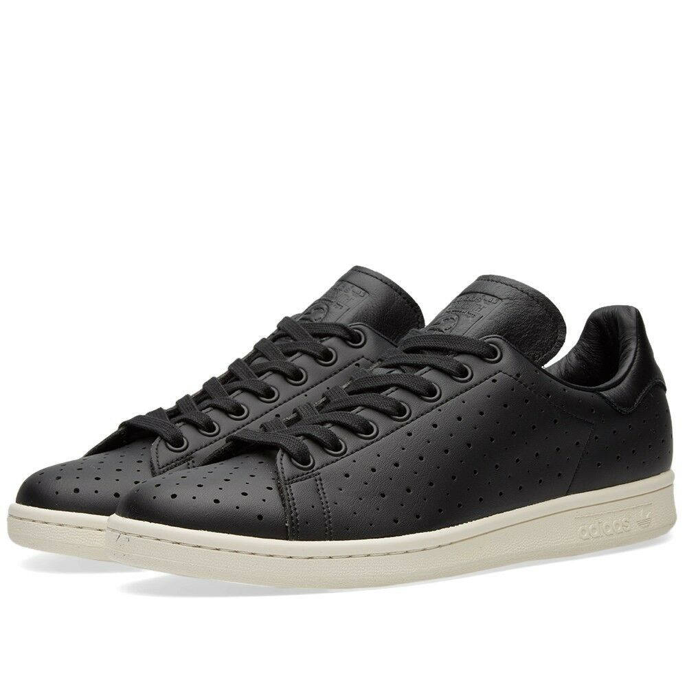 adidas Stan Smith Leather Mens Originals Black Perforated Leather Smith Trainers Sneakers 843ef5