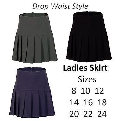 Nett Ladies Skirt Womens Fan Pleat Drop Waisted Style Black Grey Navy Formal Office