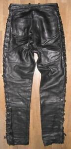 Damen- Schnür- LEDERJEANS / Biker- Lederhose in schwarz ca. Gr. 38 - viele Ösen!