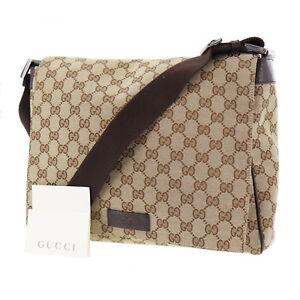 GUCCI-Original-GG-Canvas-Shoulder-Bag-Brown-Leather-Vintage-Italy-Auth-RR529-S