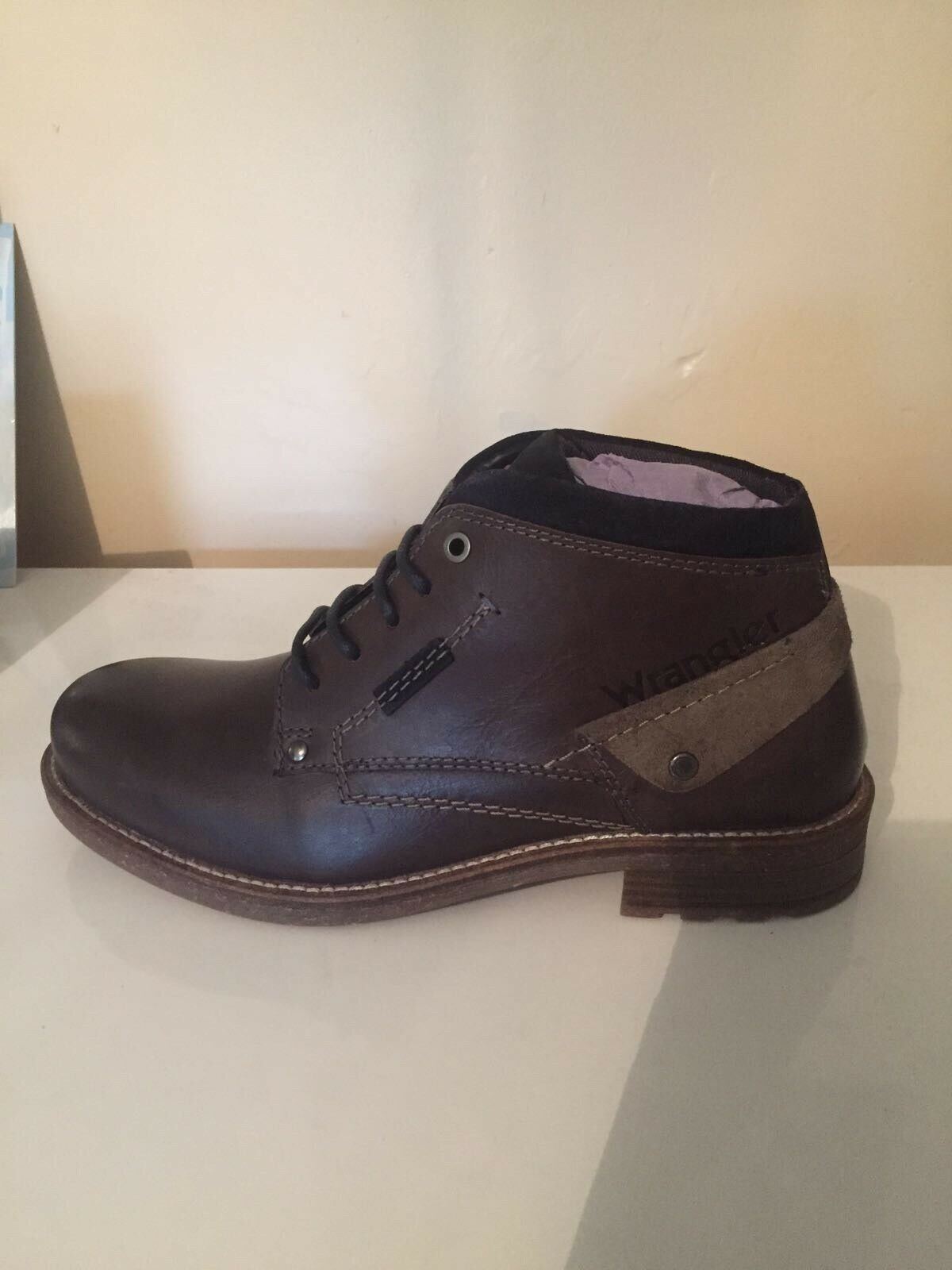 Wrangler Mens Lace Up Leather Dark grau Winter Stiefel schuhe Größe UK 9