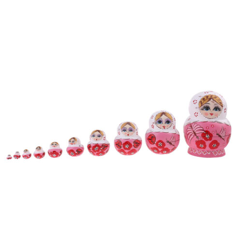 10PCS Wood Nesting Doll Russian Babushka Matryoshka Stacking Doll Decor Pink