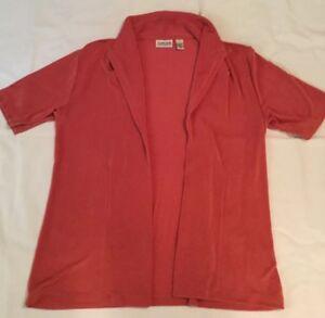 Chico-039-s-Travelers-Slinky-Knit-Open-Cardigan-Size-2-Medium-Short-Sleeve-Pink-Top
