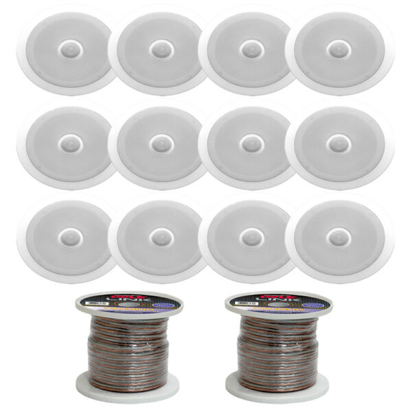 """(12) Pyle Pdic60 In-ceiling Dual 6.5"""" Speakers With 16 Gauge 200ft Speaker Cable"""