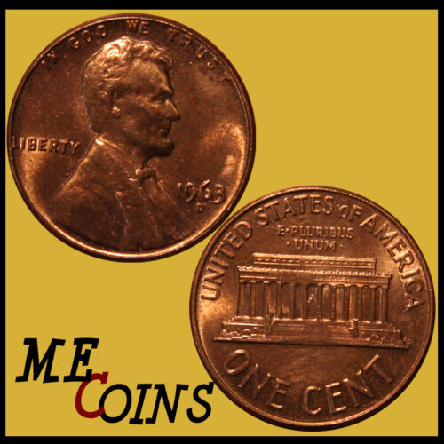 GEM BU Red US Coin 1963-D Lincoln Memorial Cent Penny Free Shipping!