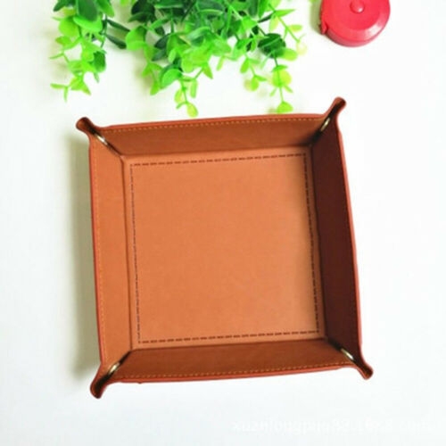 Faux Leather Collapsible Dice Tray Holder Table Desktop Key Coin Box Newly