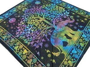 Arbre-de-vie-Elephant-Couvre-lit-Multicolore-Tenture-Batik-Boho-Hippie-Inde-E9
