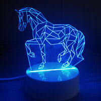 3d Horse Lamp Led Night Light Bedside Lamps Luces Home Office Decor Gift