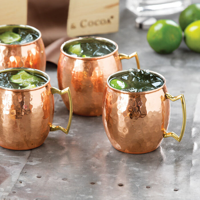 Pure Copper Hand Hammered Copper Moscow Mule Mugs   Cups Mugs Free Shipping