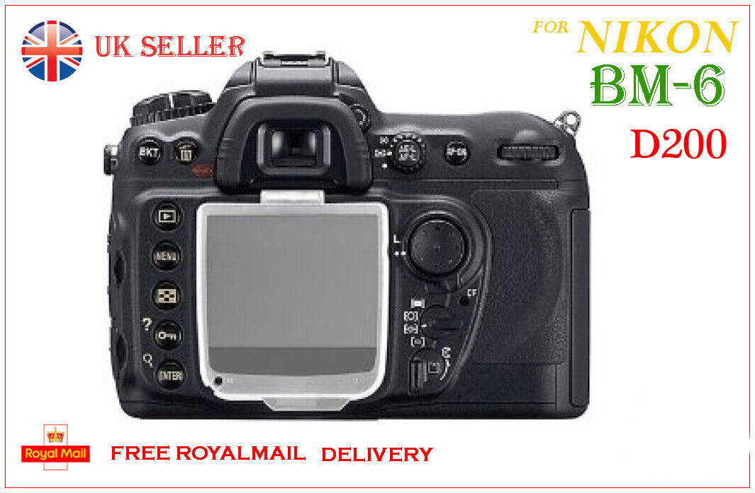 BM-6 Hard Clear Plastic Rear LCD Monitor Screen Cover Protector For Nikon D200