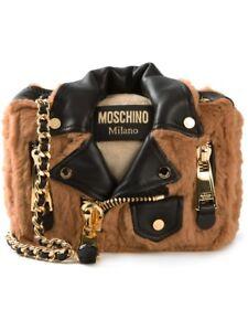 93889caabbe BNWT Moschino Couture Jeremy Scott Furry Teddy Bear Biker Jacket Bag  MSRP 1495