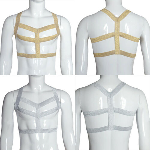 Mens Elastic Body Chest Harness Shoulder Strap Nylon Halter Fancy Underwear Club
