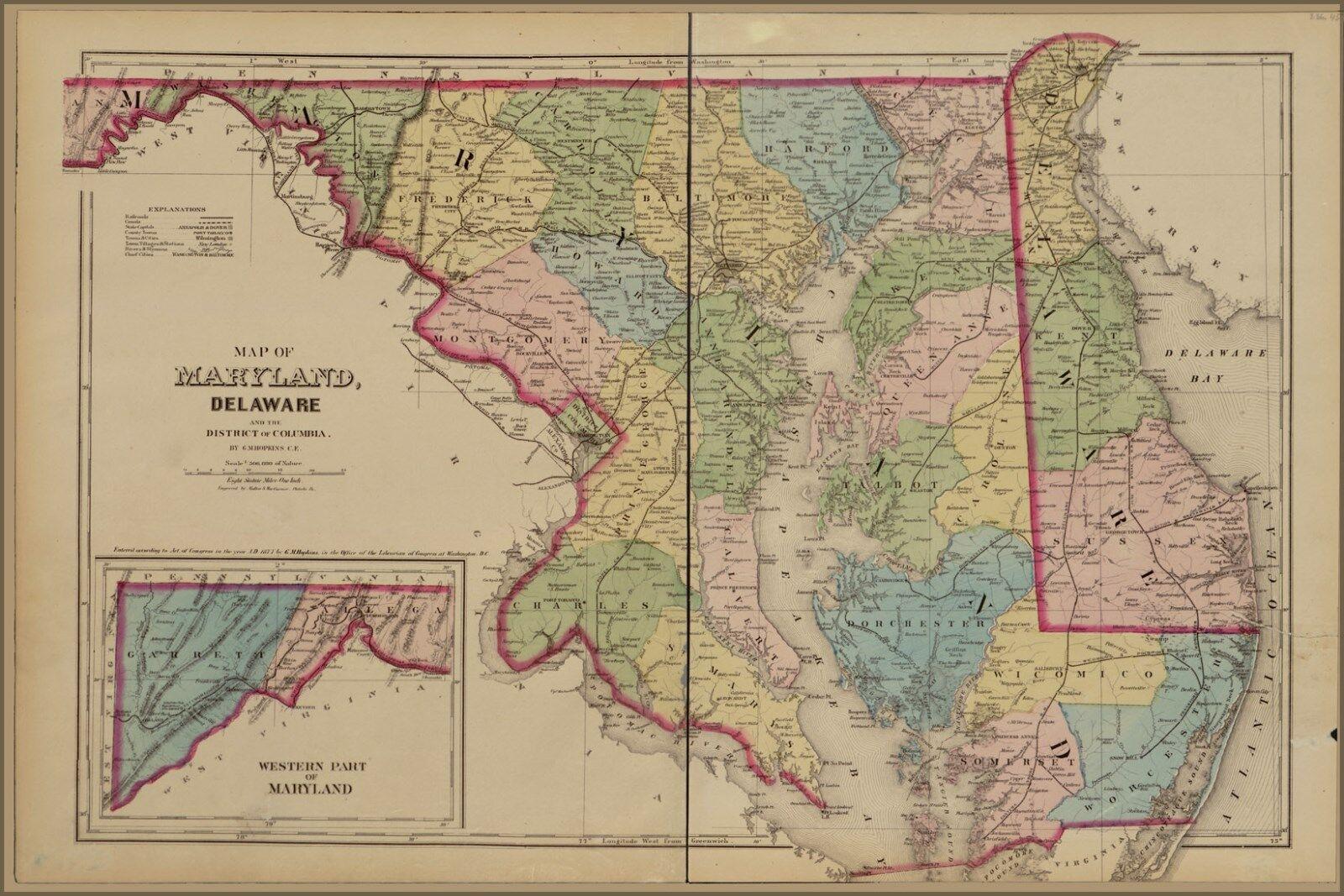 Poster, Many Größes; Map Of Maryland, Delaware Washington D.C. 1878