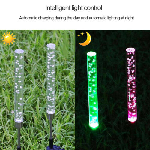 2PCS Outdoor Acrylic Bubble RGB LED Solar Landscape Garden Path Light Lamp