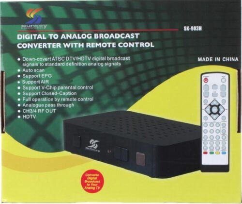 NEW SUNKEY DIGITAL TO ANALOG CONVERTER BOX HDTV SIGNAL ANTENNA DTV TV SK-903H