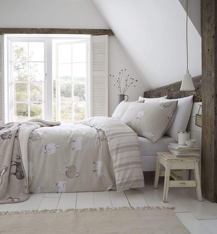 Catherine Lansfield Brushed Sheep Flannelette Duvet Cover Bedding Set Natural