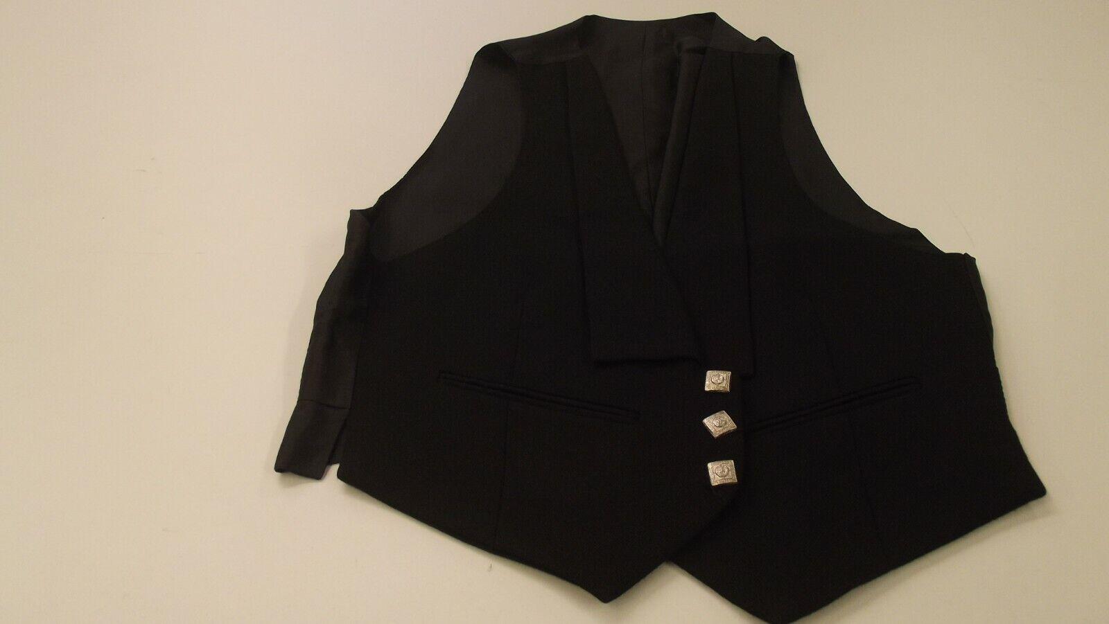 Ex-Hire 3 Button Black Prince Charlie Waistcoat - 34 Long 34L
