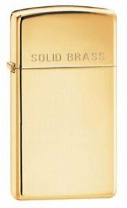 Zippo-Slim-Solid-Brass-Engraved-Lighter-High-Polish-Brass-Genuine-Lighter-1654