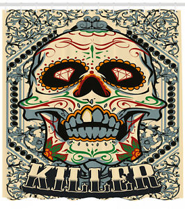 Image Is Loading Sugar Skull Shower Curtain Gothic Killer Frame Print