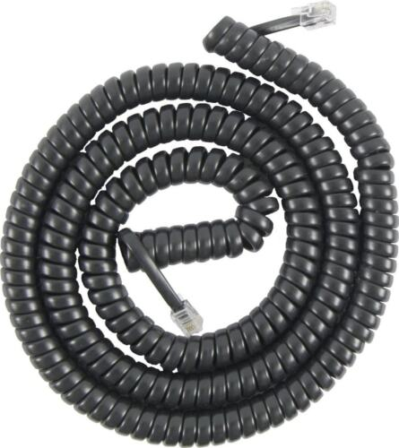 50/' BLACK Color Phone Cord 50 Foot Modular Telephone Coiled Handset Cord Phone