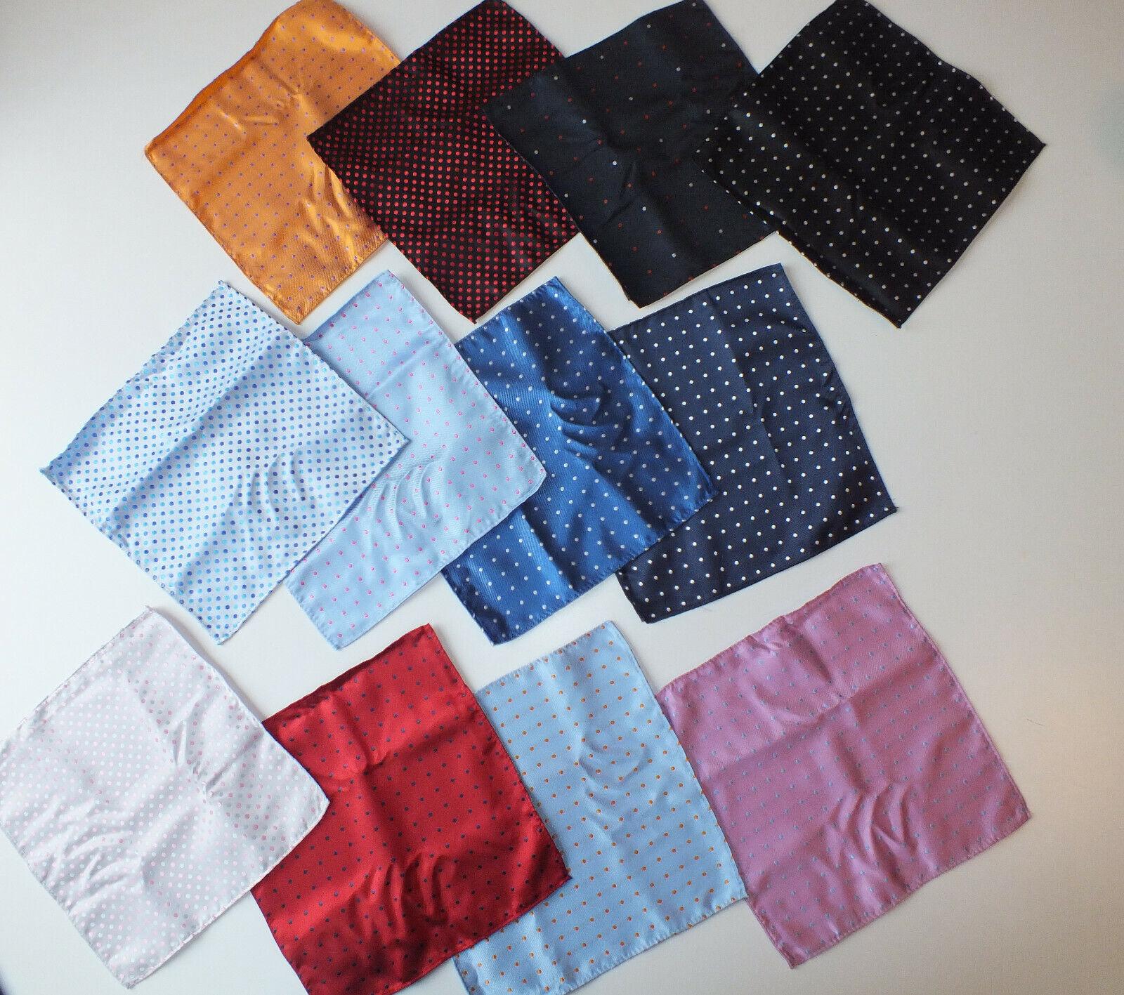 New 100% silk pocket square 25 cm pink blue white black polka dot 12 quantity
