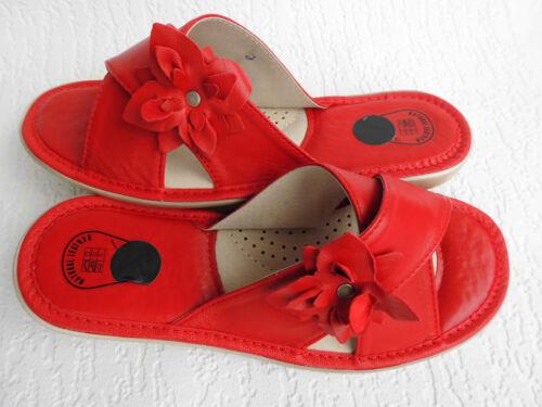PL.25-4-5-24 Hausschuhe Gr.37,5 Echt LEDER Rot *Komfortweite* Pantolette