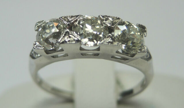 Antique Art Deco Estate Diamond Engagement Ring 18K White Gold Ring Sz 5 EGL USA