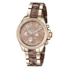 New Michael Kors Wren Rose Gold Crystal Chrono Dial Tortoise Women Watch MK6159