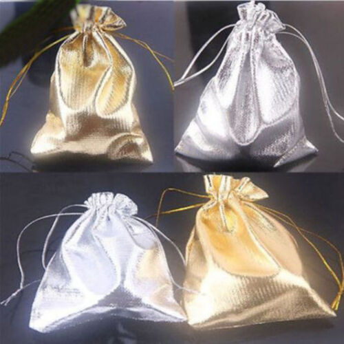 25-100X Wedding Drawstring Pattern Organza Party Gift Bags Candy Jewelry 18X13CM