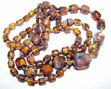 Long c1920 Art Deco Vintage Opalescent fire foil glass bead necklace- project