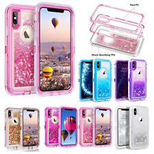 Clear Quicksand Defender Glitter Case for iPhone X XS Max Clip Oterbox Inspired