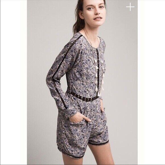 Ranna Gill Women's Hettie bluee Floral Long Sleeve Romper Size  L