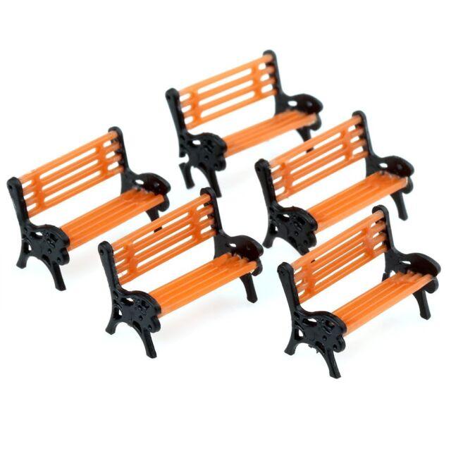 5pcs Model Bench Chair Train Platform Garden Park Street Scenery Layout 1:75 HO