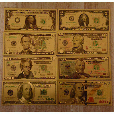 8PC Donald Trump  Gold Dollar Bill Full Set Gold Banknote USD 1//2//5//10//20//50//100