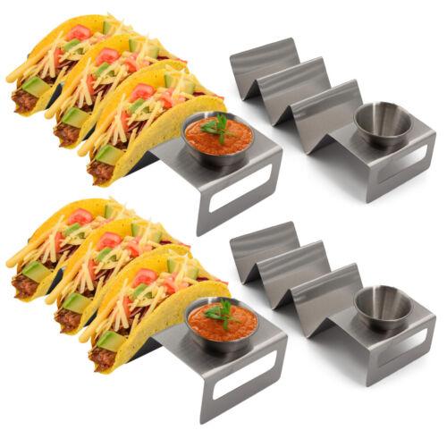 California Home Goods Set of 4 Taco Tuesday Holder Racks w// Sauce Cups