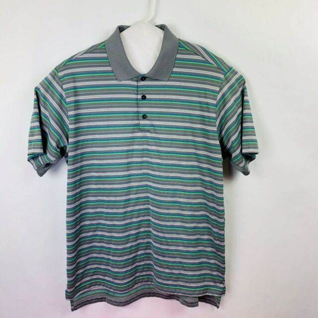 adidas Golf Clima Cool Polo Men's Size Large Striped Gray/Blue/Green