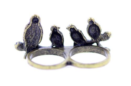 Vintage retro style vier bronze vogelpaar doppel-finger ring mit rosa kristall