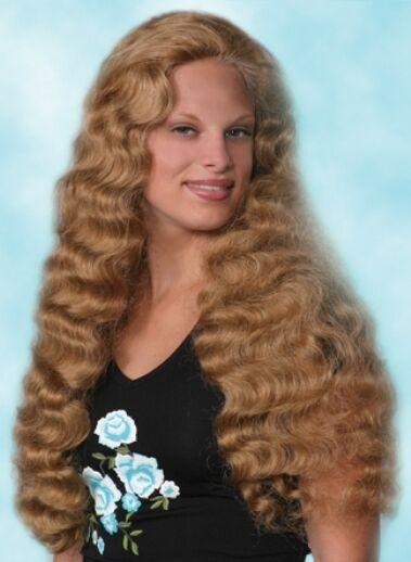 STEPHANIE BLONDE BROWN BLACK AUBURN 80'S 70'S WOMAN LONG WAVY CURLY COSTUME WIG