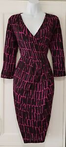 Womens-Jaeger-Black-Fushcia-Pink-Geo-Wrap-Gathered-Shift-Dress-With-Pockets-10