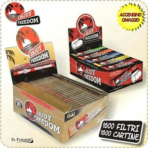 1600 CARTINE + FILTRI CARTA ENJOY FREEDOM GOLD SLIM LUNGHE 50 LIBRETTI 1 BOX ORO