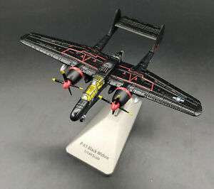 New-1-144-Scale-WWII-USAF-P-61-Black-Widow-Bomber-Aircraft-Black-Diecast-Model