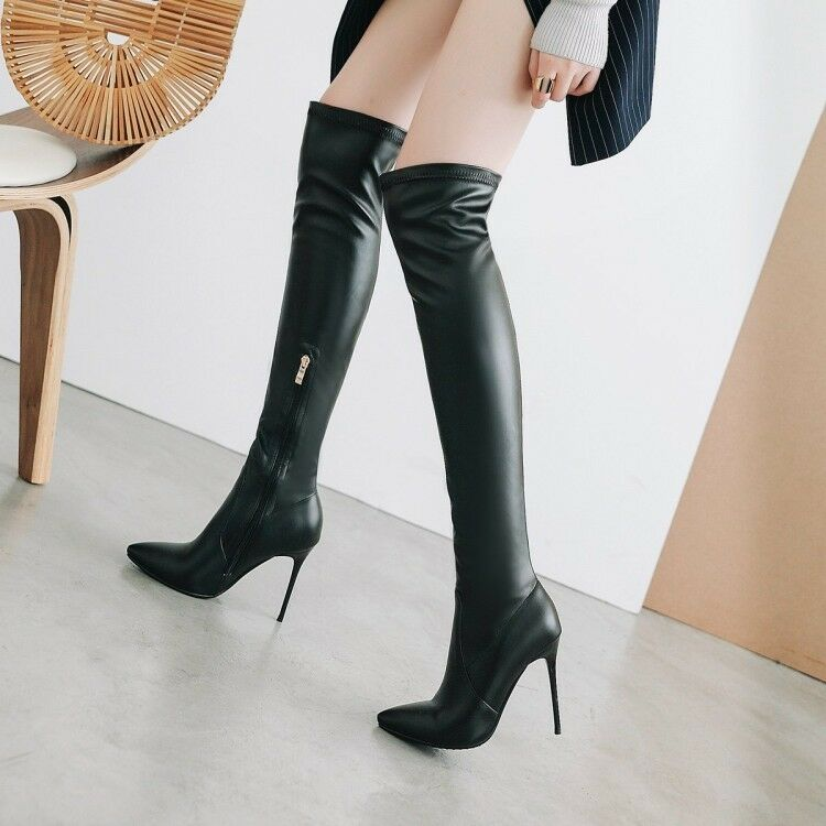 Knee High bottes Leather Stilettos Heels Pointy Toe Side Zip Solid femmes chaussures