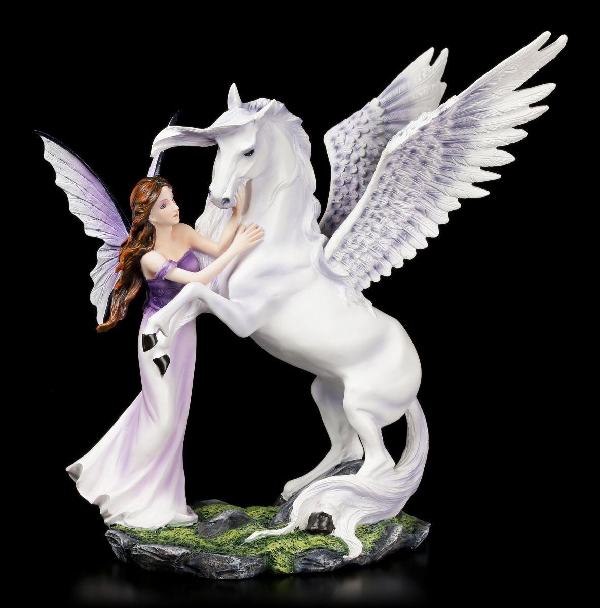 Figura Elfos -Eire con Pegasus - Hada Fantasy Estatua Decoración