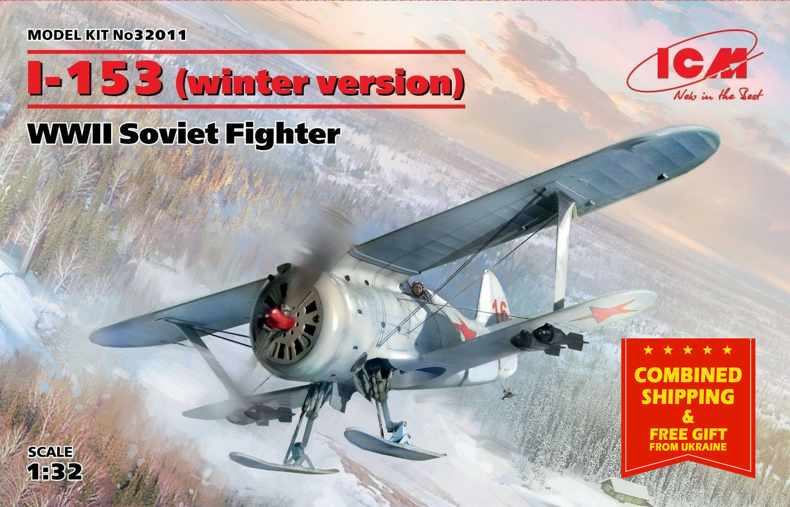 SOVIET FIGHTER AIRCRAFT 1930's (WINTER VERSION)  POLIKARPOV I-153 1 32 ICM 32011