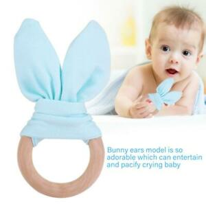 Simple Wooden Natural Baby Teething Ring Chewie Teether Bunny Sensory Gift Toy