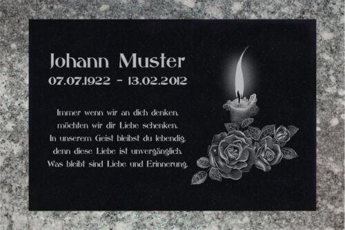 Granit Liegestein Grabplatte Grabtafel 25x20x3 cm Wunsch Gravur Grabstein-gg51