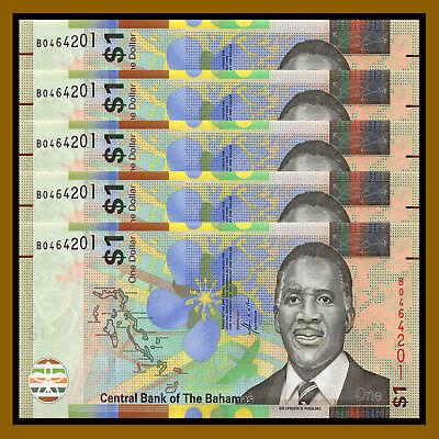 2017  P-New New Design Flower Unc Bahamas 1 Dollar